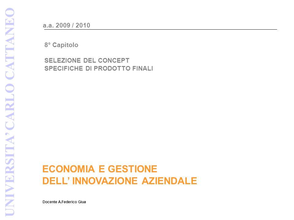 ECONOMIA E GESTIONE DELL INNOVAZIONE AZIENDALE Docente A.Federico Giua a.a.
