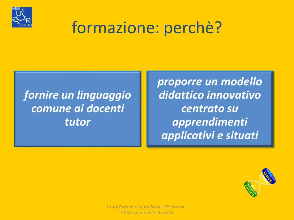 formazione: perchè? fornire un linguaggio comune ai docenti tutor proporre un modello didattico innovativo centrato su apprendimenti applicativi e sit