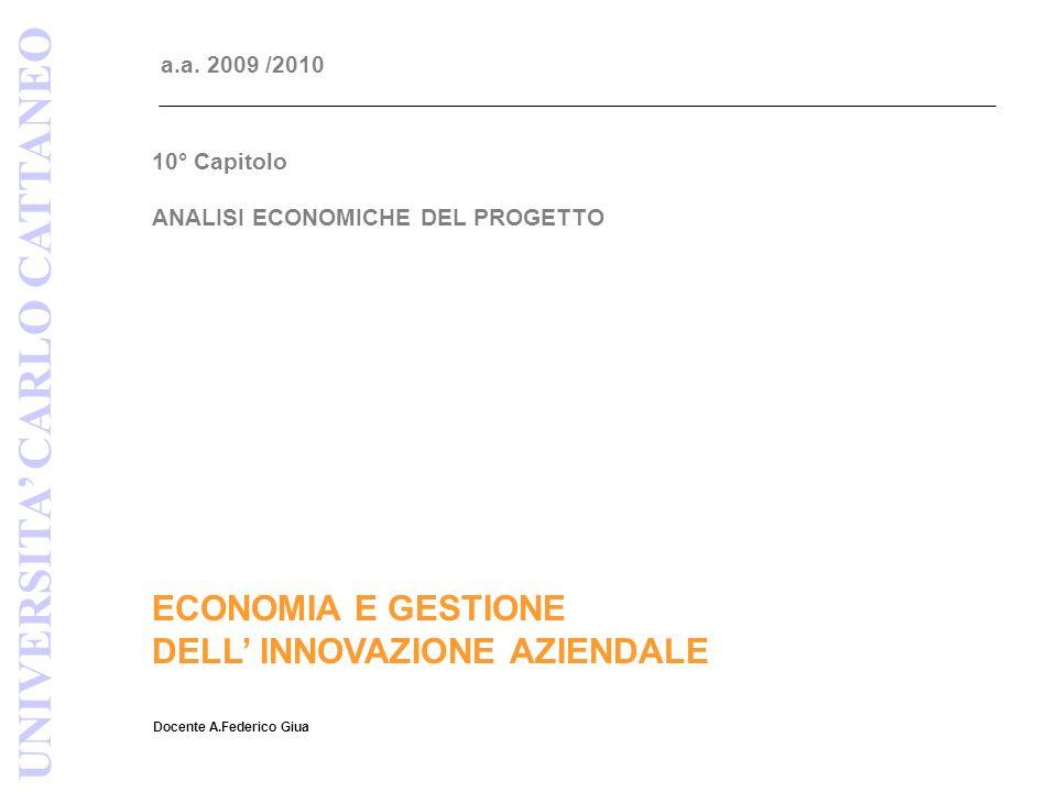 ANALISI ECONOMICA DEL PROGETTO Fonte: MR&D Institute UNIVERSITA CARLO CATTANEO INNOVAZIONE E SVILUPPO DEL PRODOTTO