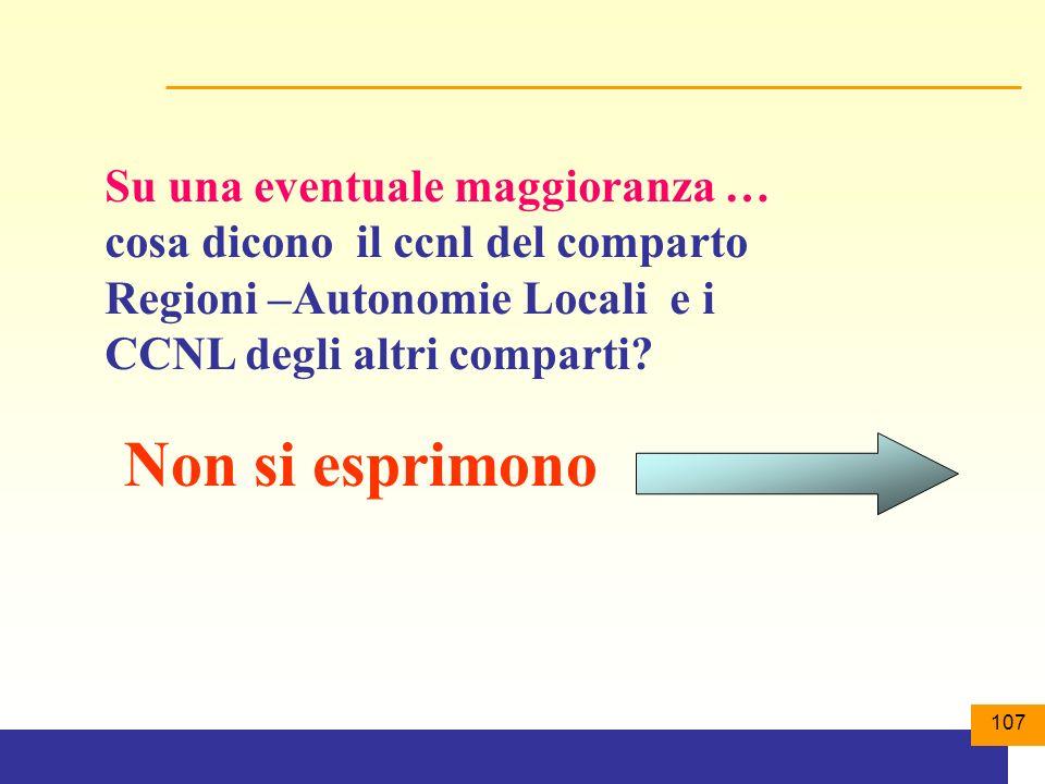 107 Su una eventuale maggioranza … cosa dicono il ccnl del comparto Regioni –Autonomie Locali e i CCNL degli altri comparti.