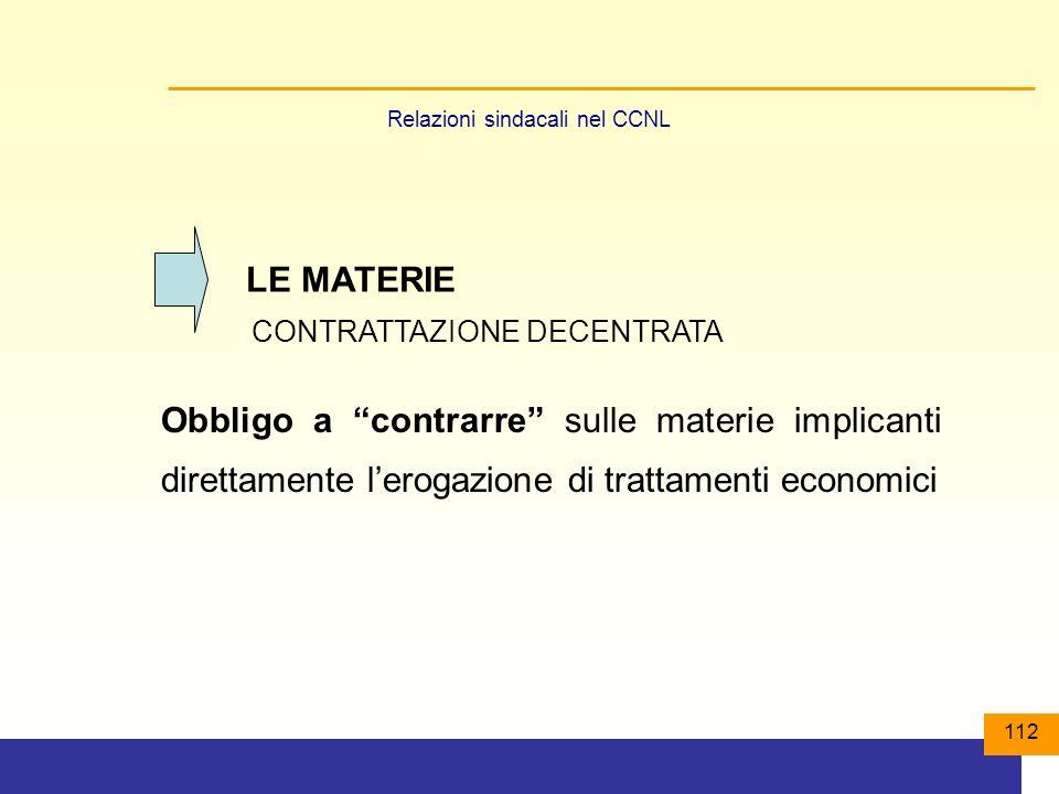 112 LE MATERIE CONTRATTAZIONE DECENTRATA Obbligo a contrarre sulle materie implicanti direttamente lerogazione di trattamenti economici Relazioni sindacali nel CCNL