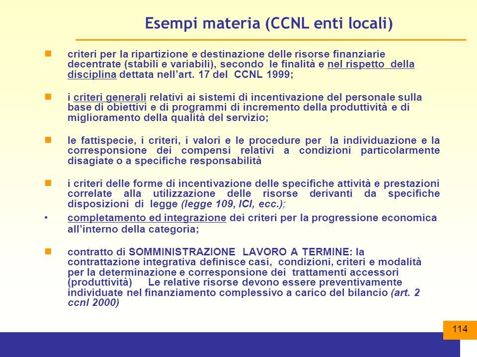 114 Esempi materia (CCNL enti locali) criteri per la ripartizione e destinazione delle risorse finanziarie decentrate (stabili e variabili), secondo le finalità e nel rispetto della disciplina dettata nellart.