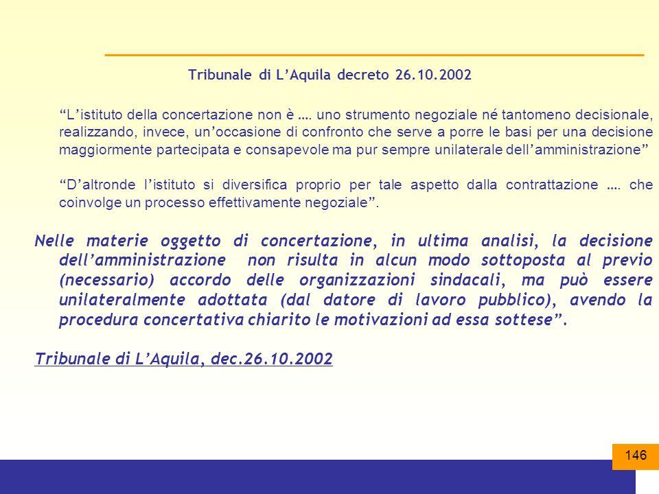 146 Tribunale di LAquila decreto 26.10.2002 L istituto della concertazione non è ….