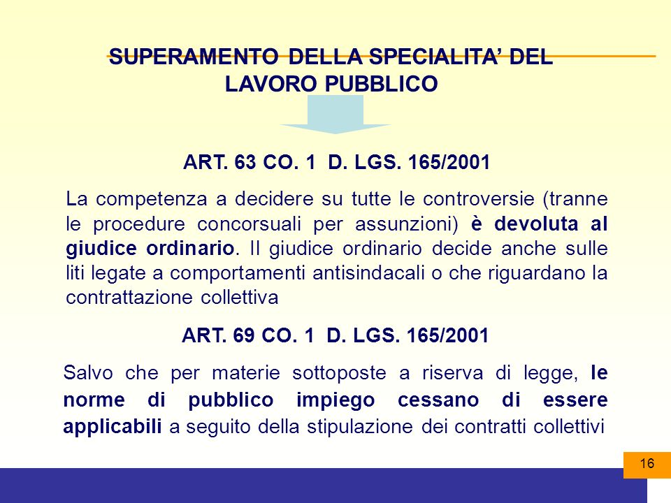 16 SUPERAMENTO DELLA SPECIALITA DEL LAVORO PUBBLICO ART.