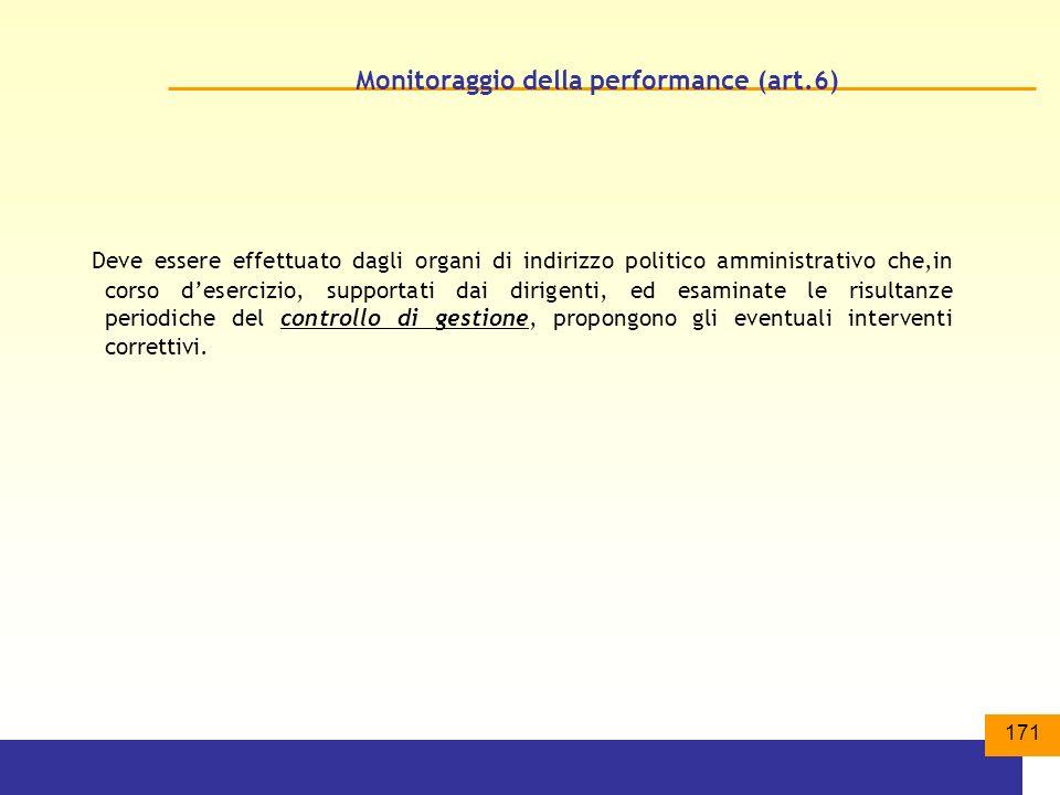171 Monitoraggio della performance (art.6) Deve essere effettuato dagli organi di indirizzo politico amministrativo che,in corso desercizio, supportati dai dirigenti, ed esaminate le risultanze periodiche del controllo di gestione, propongono gli eventuali interventi correttivi.