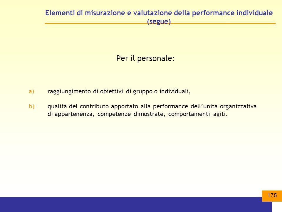 175 Elementi di misurazione e valutazione della performance individuale (segue) Per il personale: a)raggiungimento di obiettivi di gruppo o individuali, b)qualità del contributo apportato alla performance dellunità organizzativa di appartenenza, competenze dimostrate, comportamenti agiti.