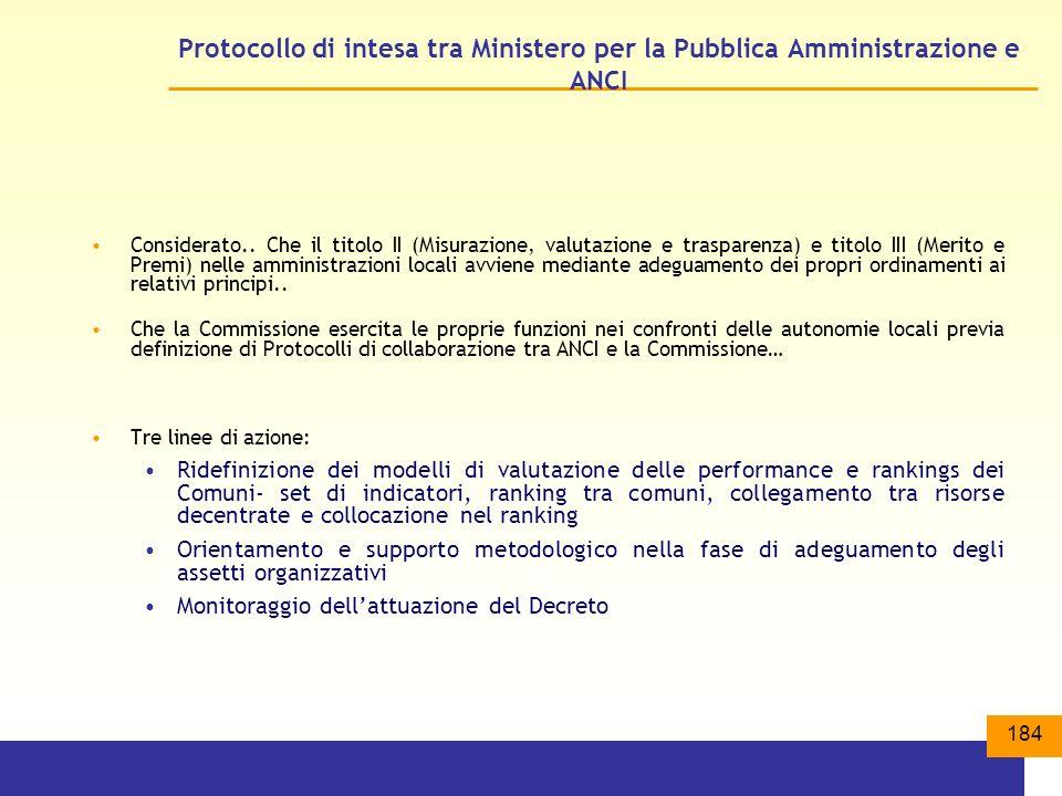 184 Protocollo di intesa tra Ministero per la Pubblica Amministrazione e ANCI Considerato..