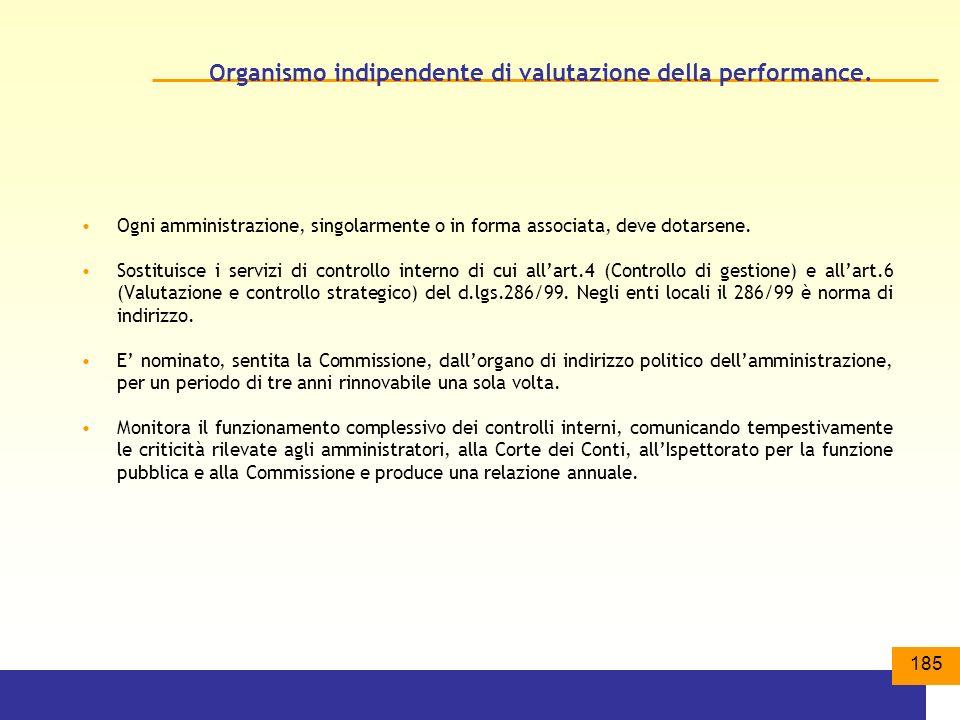 185 Organismo indipendente di valutazione della performance.