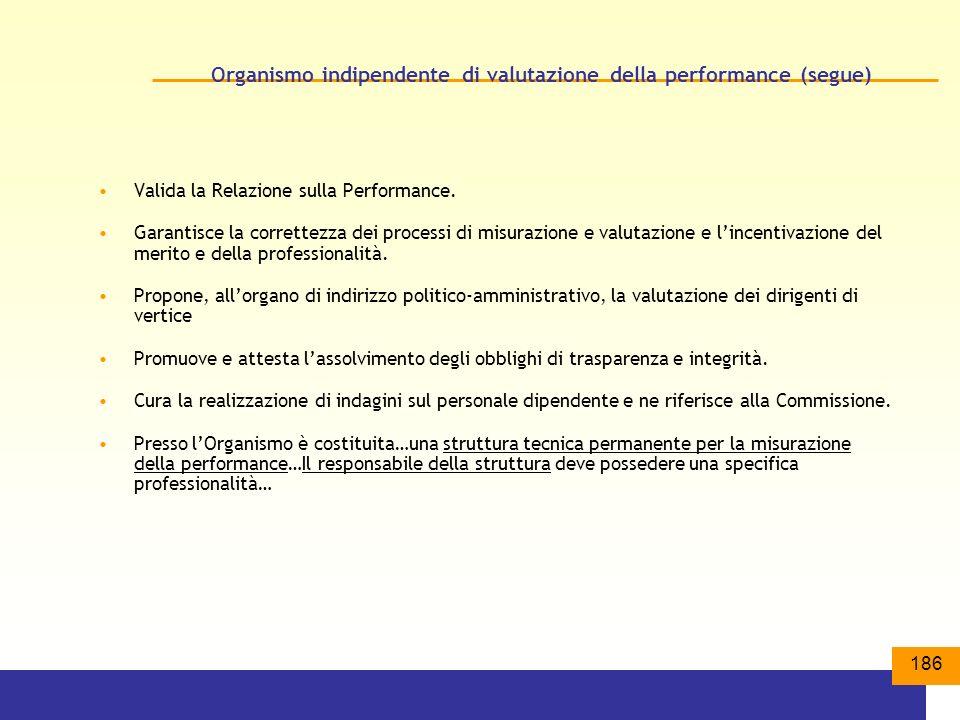 186 Organismo indipendente di valutazione della performance (segue) Valida la Relazione sulla Performance.
