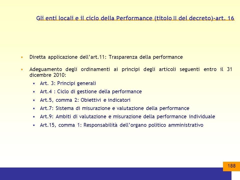 188 Gli enti locali e il ciclo della Performance (titolo II del decreto)-art.