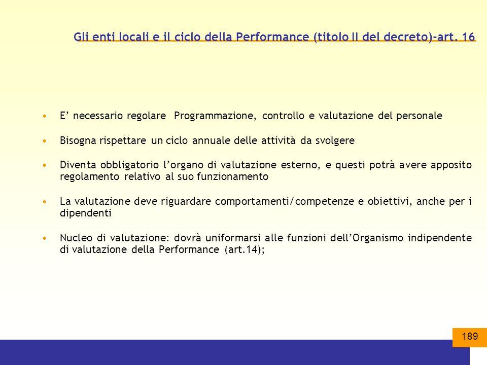 189 Gli enti locali e il ciclo della Performance (titolo II del decreto)-art.