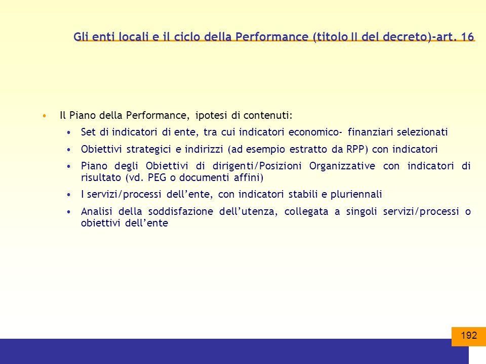 192 Gli enti locali e il ciclo della Performance (titolo II del decreto)-art.