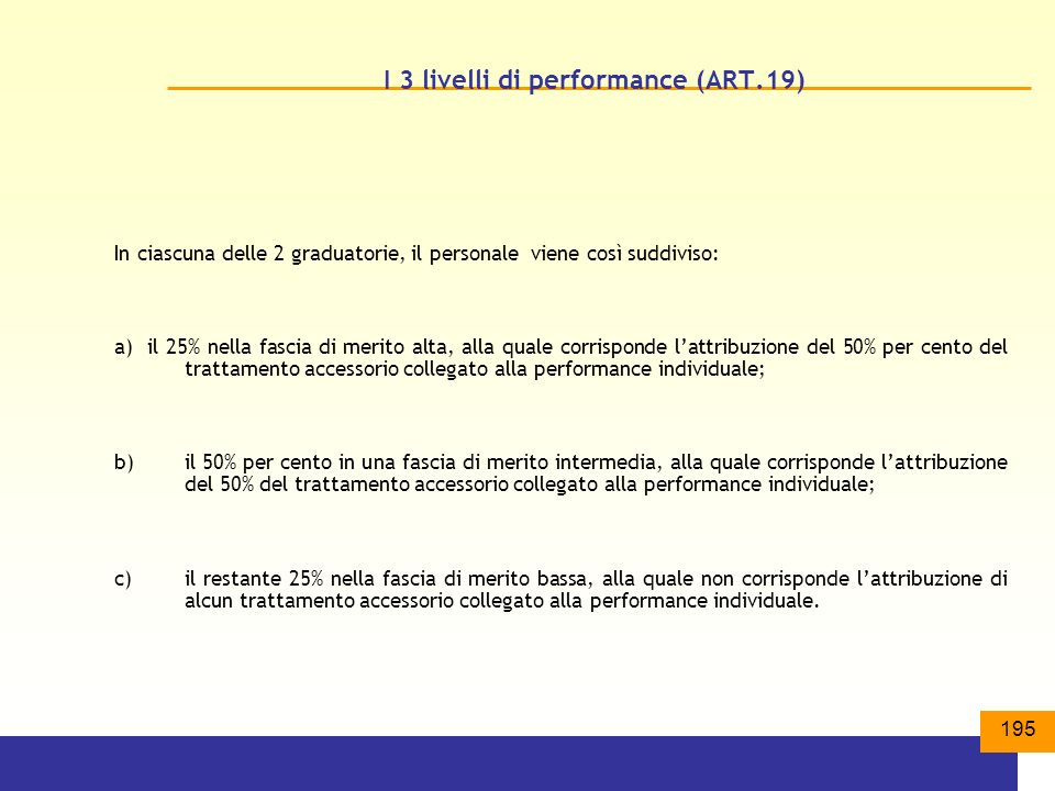 195 I 3 livelli di performance (ART.19) In ciascuna delle 2 graduatorie, il personale viene così suddiviso: a) il 25% nella fascia di merito alta, alla quale corrisponde lattribuzione del 50% per cento del trattamento accessorio collegato alla performance individuale; b) il 50% per cento in una fascia di merito intermedia, alla quale corrisponde lattribuzione del 50% del trattamento accessorio collegato alla performance individuale; c) il restante 25% nella fascia di merito bassa, alla quale non corrisponde lattribuzione di alcun trattamento accessorio collegato alla performance individuale.