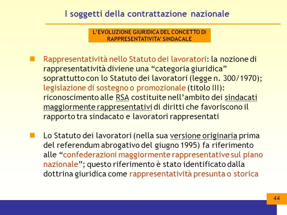 44 I soggetti della contrattazione nazionale Rappresentatività nello Statuto dei lavoratori: la nozione di rappresentatività diviene una categoria giuridica soprattutto con lo Statuto dei lavoratori (legge n.