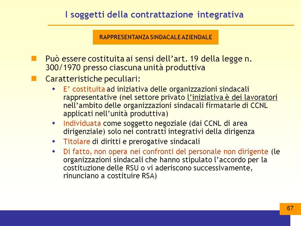67 I soggetti della contrattazione integrativa Può essere costituita ai sensi dellart.