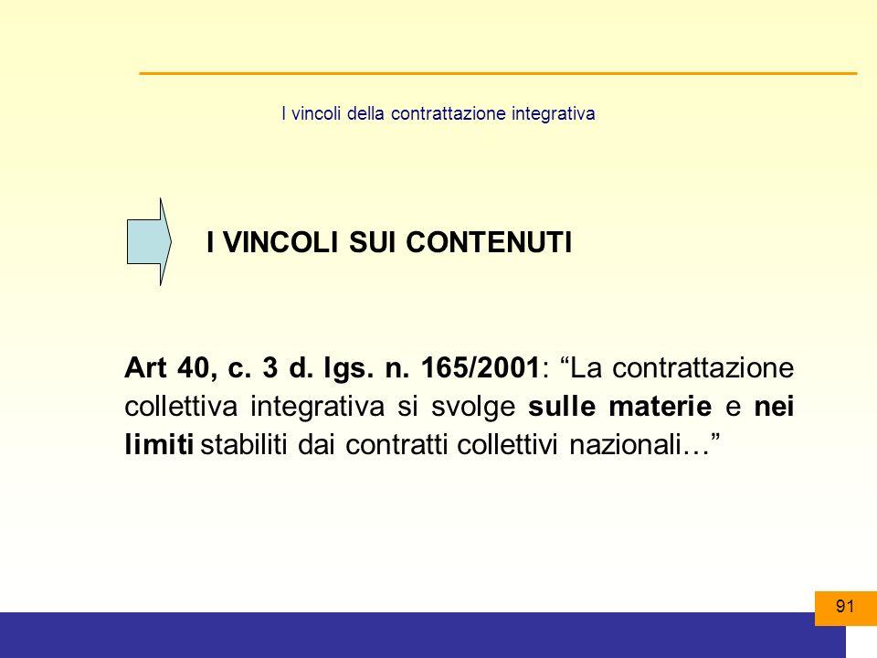 91 I vincoli della contrattazione integrativa Art 40, c.