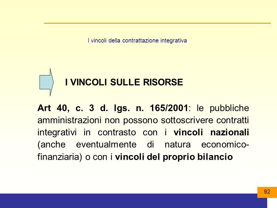 92 I vincoli della contrattazione integrativa Art 40, c.