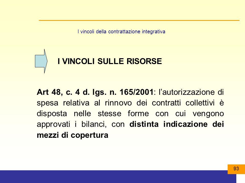 93 I vincoli della contrattazione integrativa I VINCOLI SULLE RISORSE Art 48, c.