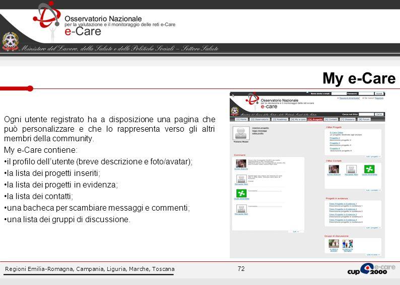 Regioni Emilia-Romagna, Campania, Liguria, Marche, Toscana 72 Ogni utente registrato ha a disposizione una pagina che può personalizzare e che lo rappresenta verso gli altri membri della community.