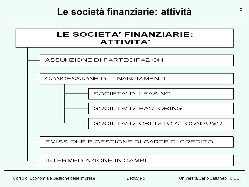 Corso di Economia e Gestione delle Imprese IIUniversità Carlo Cattaneo - LIUCLezione 5 6 Le Società Assicurative