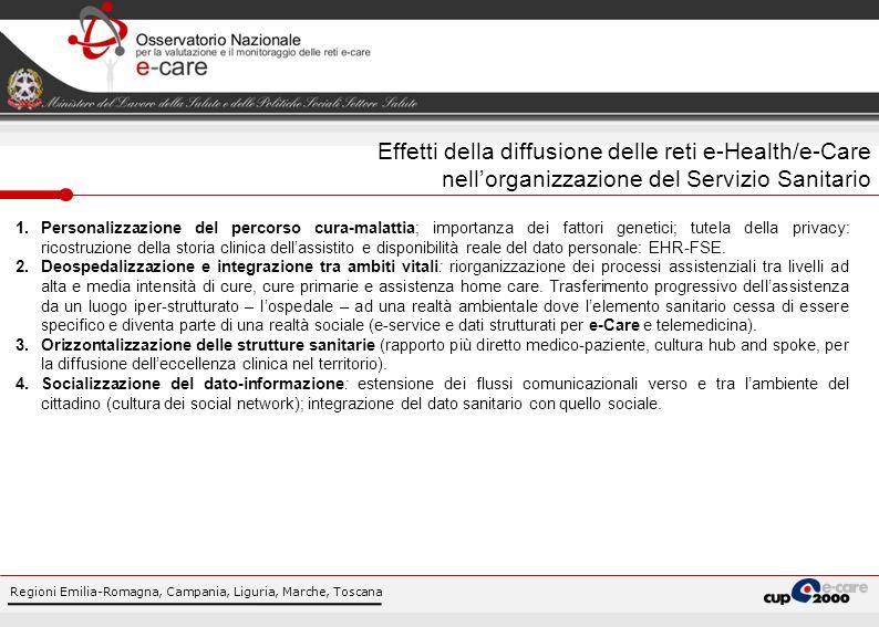 Regioni Emilia-Romagna, Campania, Liguria, Marche, Toscana Effetti della diffusione delle reti e-Health/e-Care nellorganizzazione del Servizio Sanitar