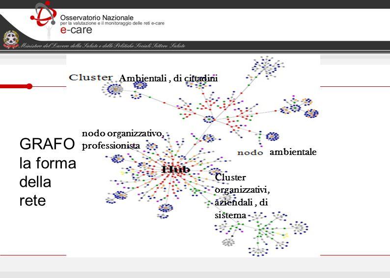 GRAFO la forma della rete Ambientali, di cittadini Cluster organizzativi, aziendali, di sistema ambientale nodo organizzativo, professionista