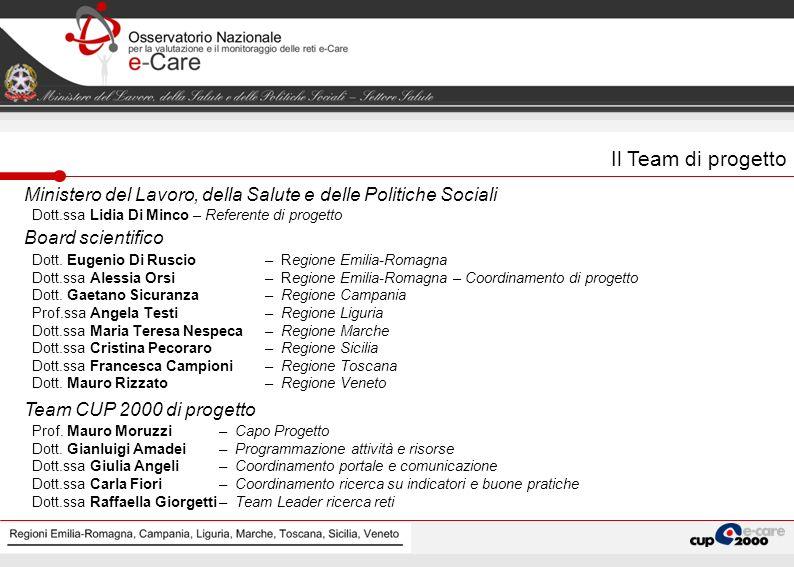 Regioni Emilia-Romagna, Campania, Liguria, Marche, Toscana Il Team di progetto Ministero del Lavoro, della Salute e delle Politiche Sociali Dott.ssa L