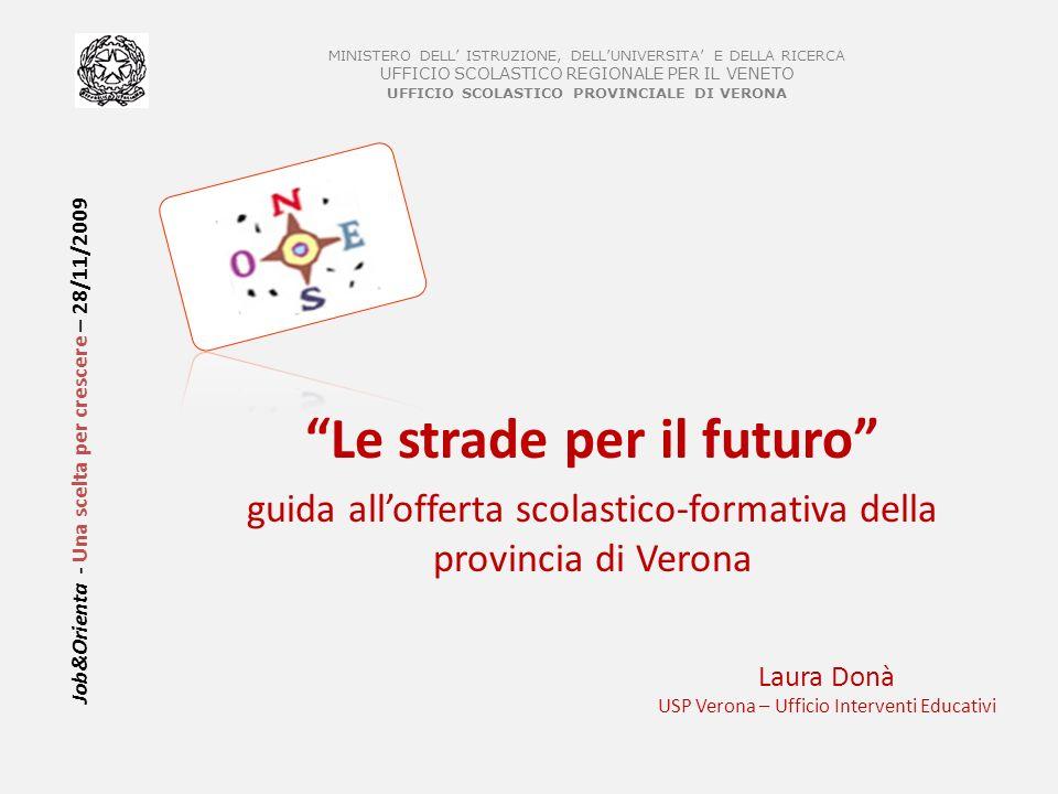 Job&Orienta - Una scelta per crescere – 28/11/2009 Le strade per il futuro guida allofferta scolastico-formativa della provincia di Verona MINISTERO D