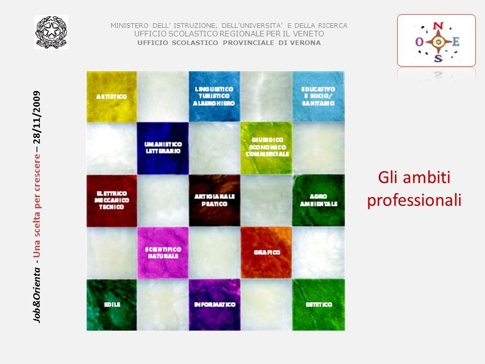 MINISTERO DELL ISTRUZIONE, DELLUNIVERSITA E DELLA RICERCA UFFICIO SCOLASTICO REGIONALE PER IL VENETO UFFICIO SCOLASTICO PROVINCIALE DI VERONA Job&Orienta - Una scelta per crescere – 28/11/2009 GLI AMBITI PROFESSIONALI