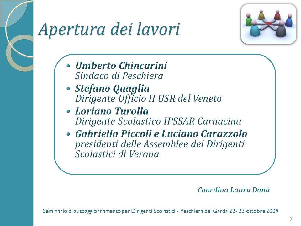 Apertura dei lavori 3 Seminario di autoaggiornamento per Dirigenti Scolastici - Peschiera del Garda 22- 23 ottobre 2009 Coordina Laura Donà