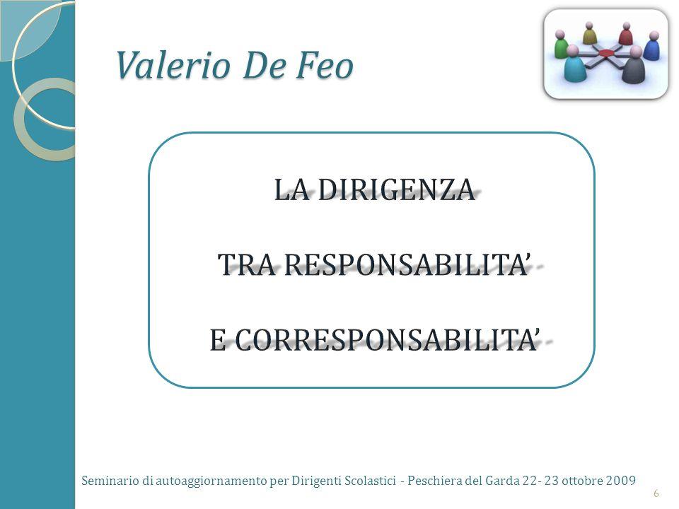 Il materiale relativo alla relazione di Valerio de Feo è già stato consegnato ai partecipanti Seminario di autoaggiornamento per Dirigenti Scolastici - Peschiera del Garda 22- 23 ottobre 20097