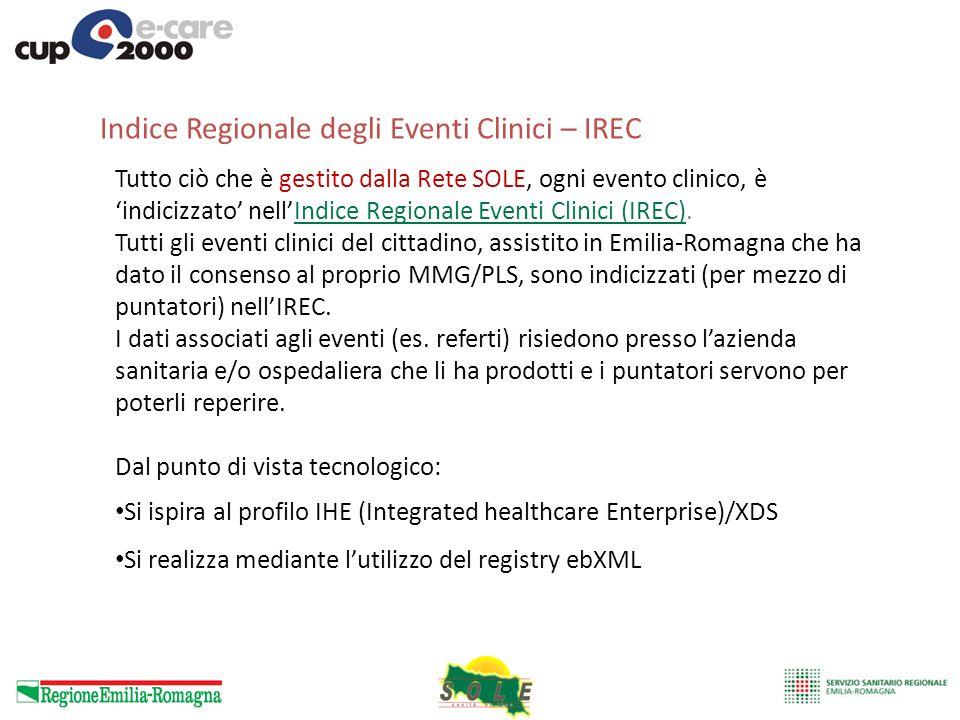 Indice Regionale degli Eventi Clinici – IREC Tutto ciò che è gestito dalla Rete SOLE, ogni evento clinico, è indicizzato nellIndice Regionale Eventi C