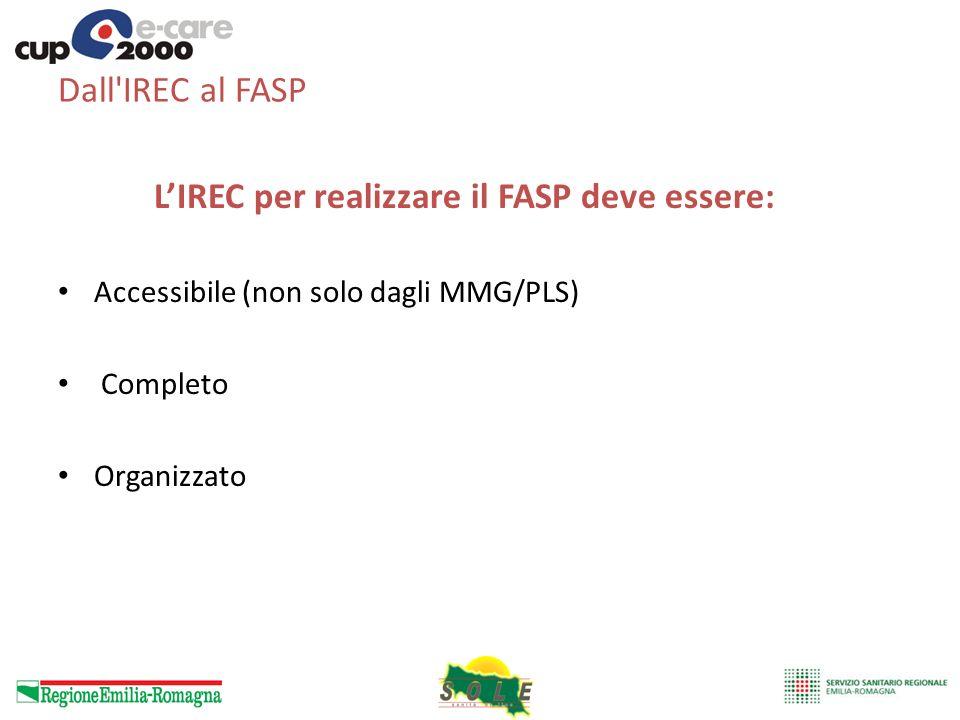 Dall'IREC al FASP LIREC per realizzare il FASP deve essere: Accessibile (non solo dagli MMG/PLS) Completo Organizzato