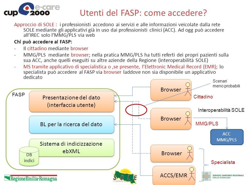 Utenti del FASP: come accedere? Approccio di SOLE : i professionisti accedono ai servizi e alle informazioni veicolate dalla rete SOLE mediante gli ap