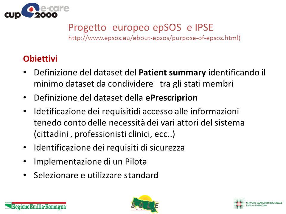 Progetto europeo epSOS e IPSE http://www.epsos.eu/about-epsos/purpose-of-epsos.html) Obiettivi Definizione del dataset del Patient summary identifican