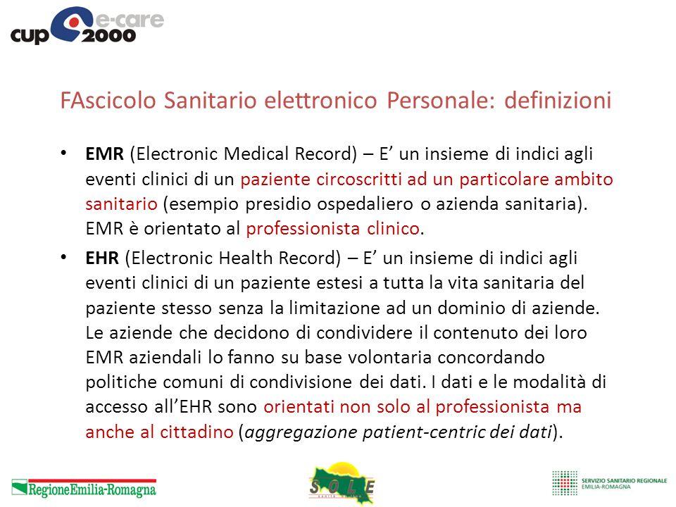 FAscicolo Sanitario elettronico Personale: definizioni EMR (Electronic Medical Record) – E un insieme di indici agli eventi clinici di un paziente cir