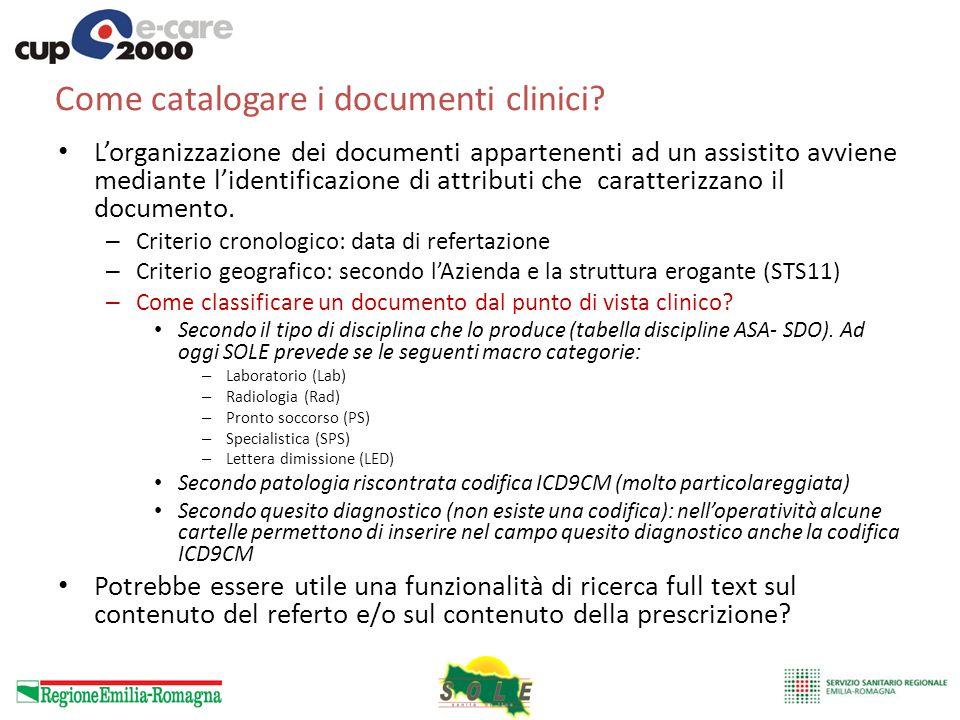 Come catalogare i documenti clinici? Lorganizzazione dei documenti appartenenti ad un assistito avviene mediante lidentificazione di attributi che car