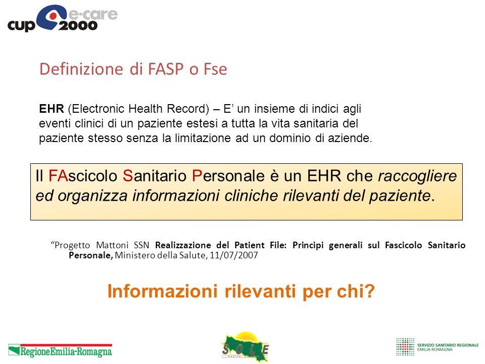 Il FAscicolo Sanitario Personale è un EHR che raccogliere ed organizza informazioni cliniche rilevanti del paziente. Definizione di FASP o Fse Progett