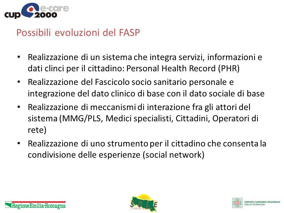 Possibili evoluzioni del FASP Realizzazione di un sistema che integra servizi, informazioni e dati clinci per il cittadino: Personal Health Record (PH