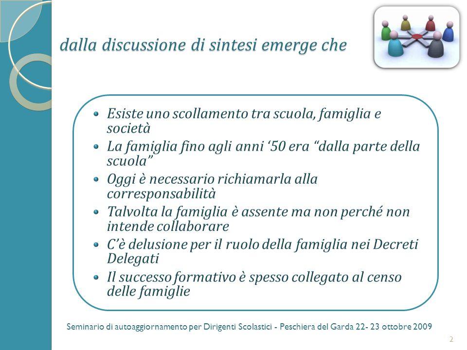 dalla discussione di sintesi emerge che 3 Seminario di autoaggiornamento per Dirigenti Scolastici - Peschiera del Garda 22- 23 ottobre 2009