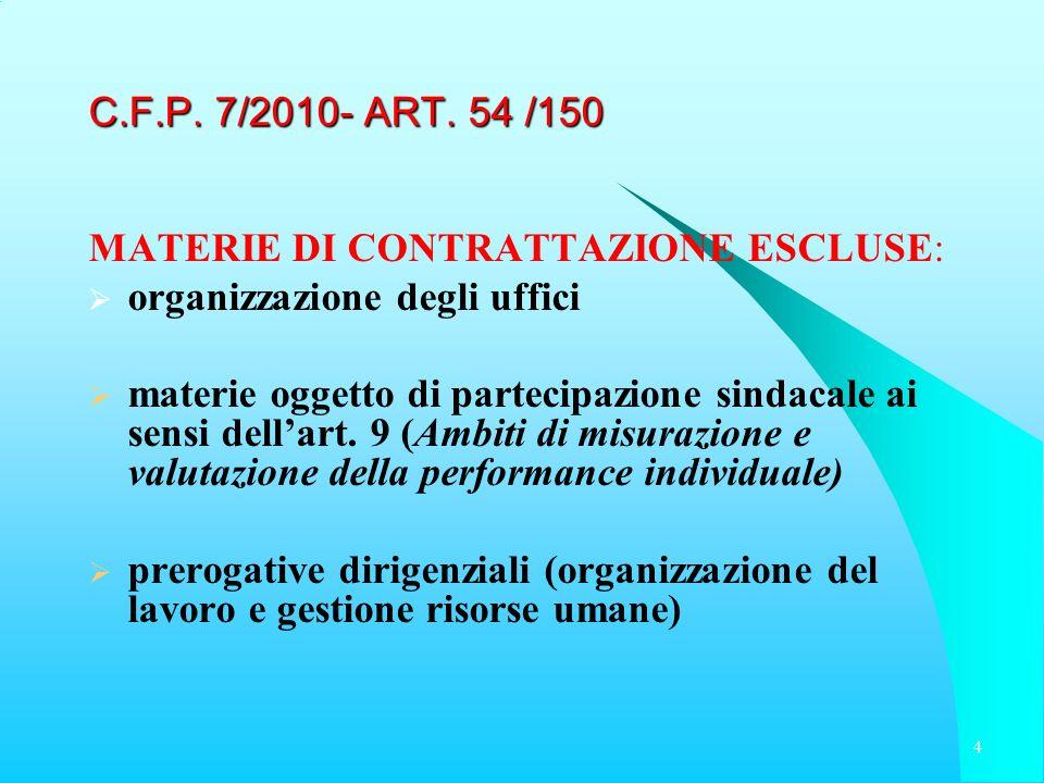 C.F.P. 7/2010- ART. 54 /150 MATERIE DI CONTRATTAZIONE ESCLUSE: organizzazione degli uffici materie oggetto di partecipazione sindacale ai sensi dellar