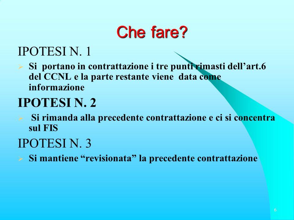Che fare? IPOTESI N. 1 Si portano in contrattazione i tre punti rimasti dellart.6 del CCNL e la parte restante viene data come informazione IPOTESI N.