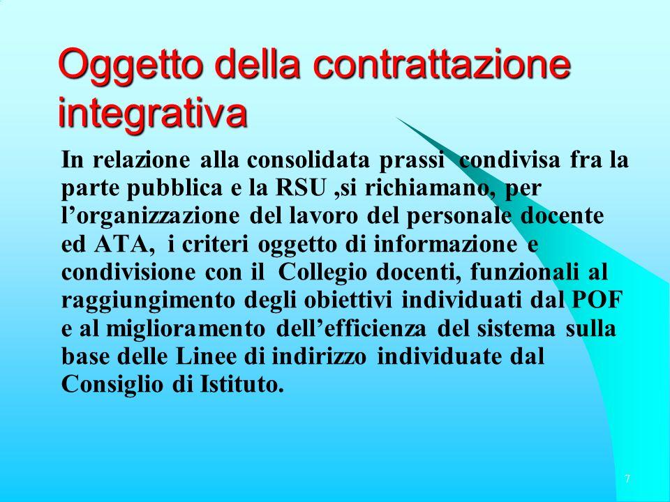 Oggetto della contrattazione integrativa In relazione alla consolidata prassi condivisa fra la parte pubblica e la RSU,si richiamano, per lorganizzazi