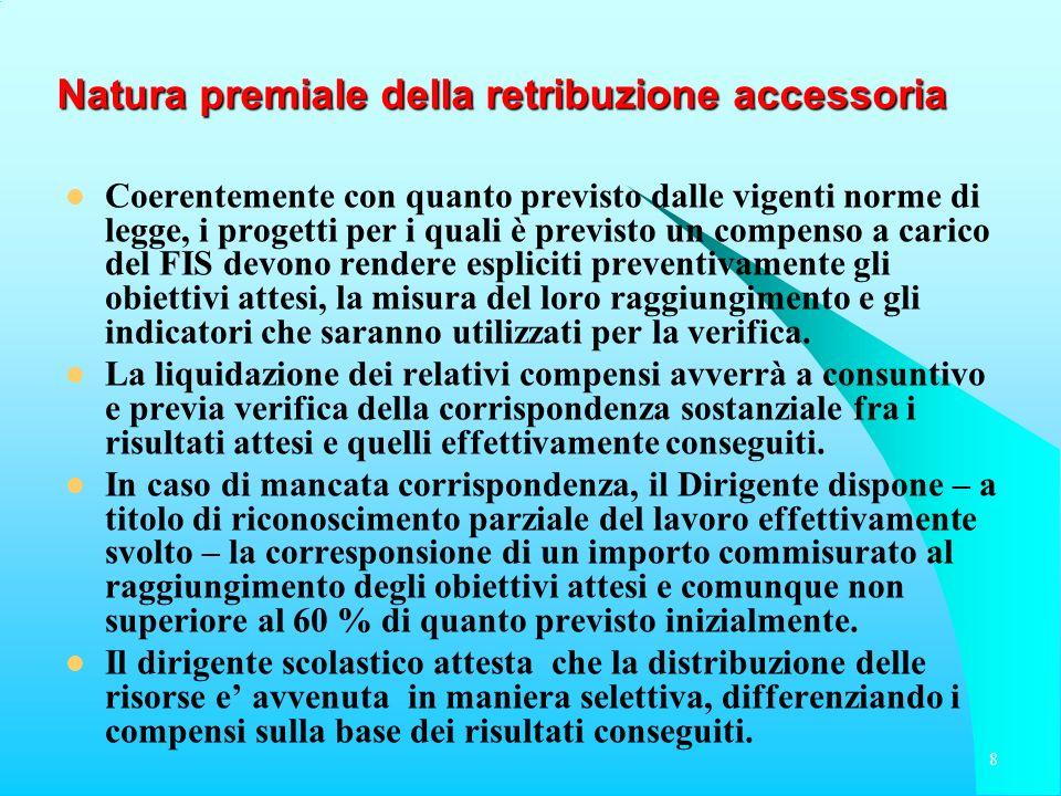 Natura premiale della retribuzione accessoria Coerentemente con quanto previsto dalle vigenti norme di legge, i progetti per i quali è previsto un com