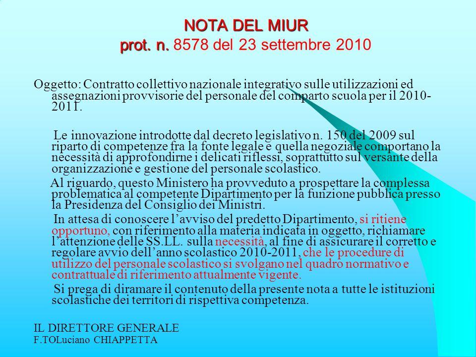 NOTA DEL MIUR prot. n. NOTA DEL MIUR prot. n. 8578 del 23 settembre 2010 Oggetto: Contratto collettivo nazionale integrativo sulle utilizzazioni ed as
