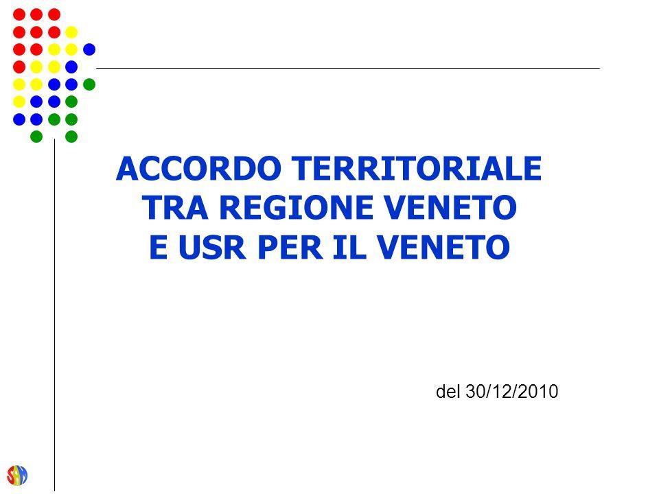 ACCORDO TERRITORIALE TRA REGIONE VENETO E USR PER IL VENETO del 30/12/2010