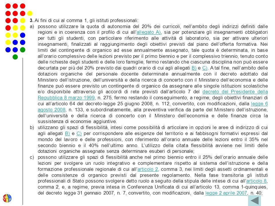 3. Ai fini di cui al comma 1, gli istituti professionali: a)possono utilizzare la quota di autonomia del 20% dei curricoli, nellambito degli indirizzi