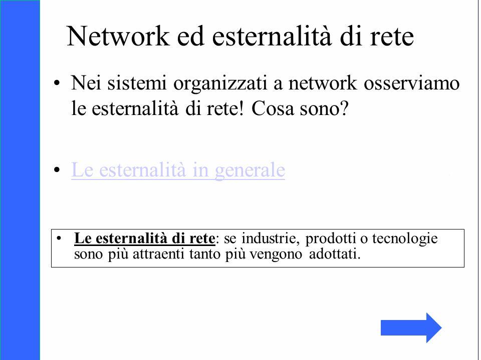 Copyright SDA Bocconi 2005 Competing Technologies, Network Externalities …n 22 Network ed esternalità di rete Nei sistemi organizzati a network osserv