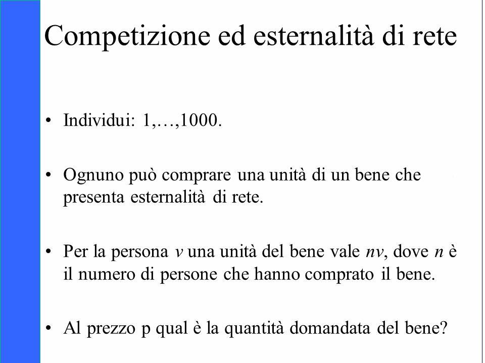 Copyright SDA Bocconi 2005 Competing Technologies, Network Externalities …n 30 Competizione ed esternalità di rete Individui: 1,…,1000. Ognuno può com