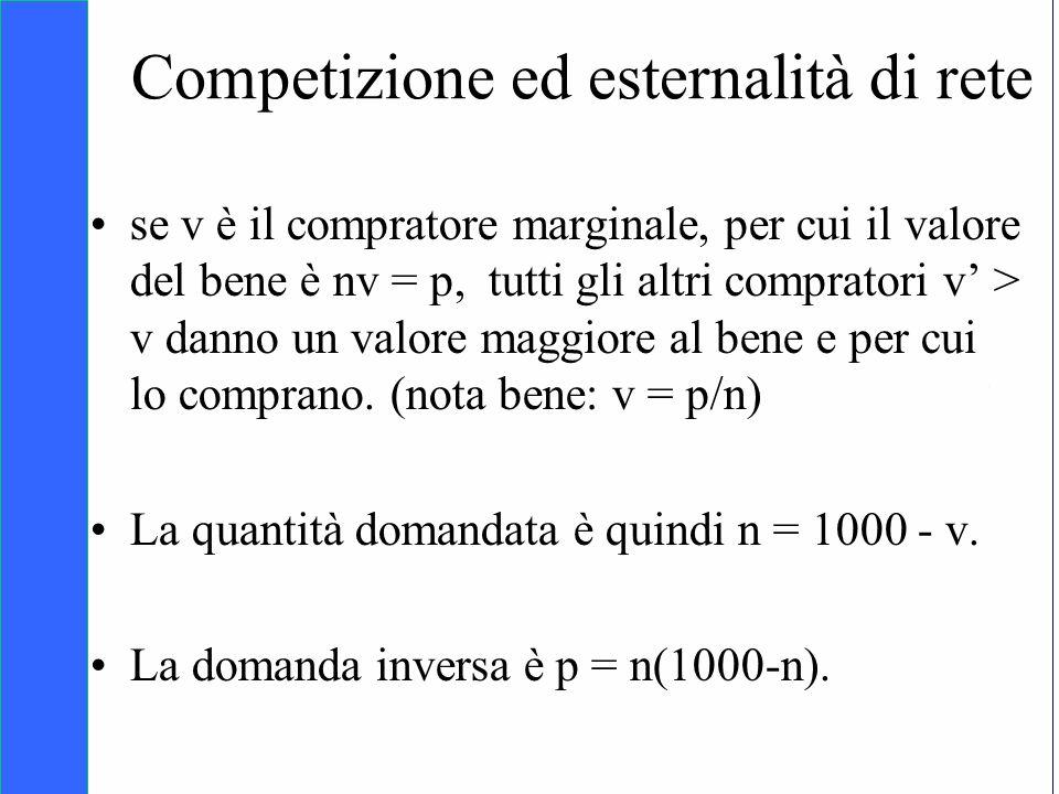 Copyright SDA Bocconi 2005 Competing Technologies, Network Externalities …n 31 Competizione ed esternalità di rete se v è il compratore marginale, per